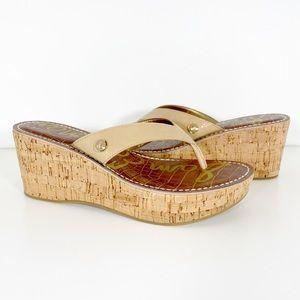 Sam Edelman Romy Wedge Sandals Tan Size 7M New